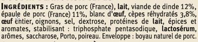 Boudins blanc aux cèpes Saveurs - Ingrédients - fr