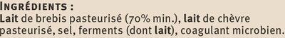 Féta grecque AOP au lait de brebis pasteurisé 2% de MG - Ingrédients