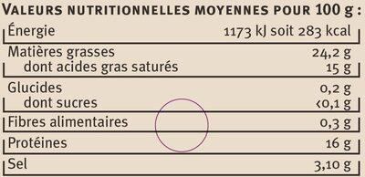 Féta grecque AOP au lait de brebis pasteurisé 2% de MG - Informations nutritionnelles