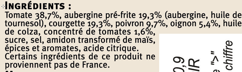 Ratatouille cuisinée en Provence - Ingrédients