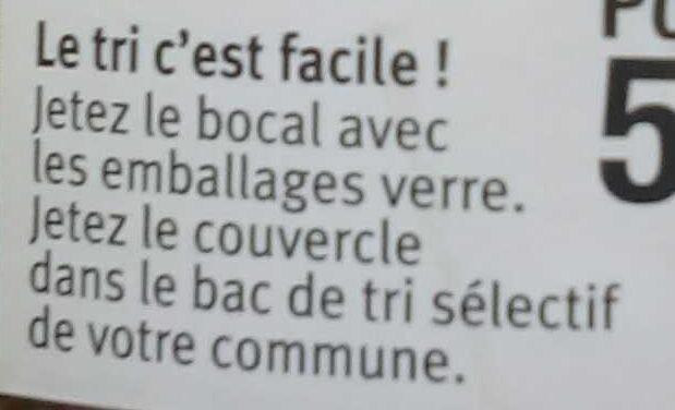 Ratatouille cuisinée en Provence - Instruction de recyclage et/ou informations d'emballage - fr