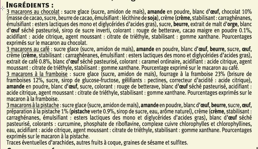Macarons framboise, café, pistache et chocolat - Ingredients