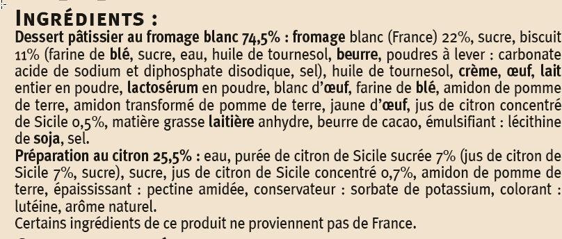Cheese cake au citron - Ingrediënten - fr