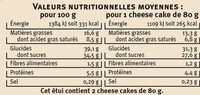 Cheese cake au citron - Voedigswaarden