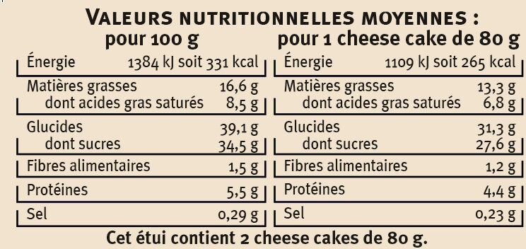 Cheese cake au citron - Voedingswaarden - fr