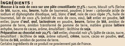 Tartelettes à la noix de coco et au chocolat - Ingrédients - fr