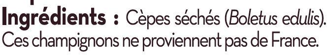 Cèpes séchées Saveurs - Ingredienti - fr