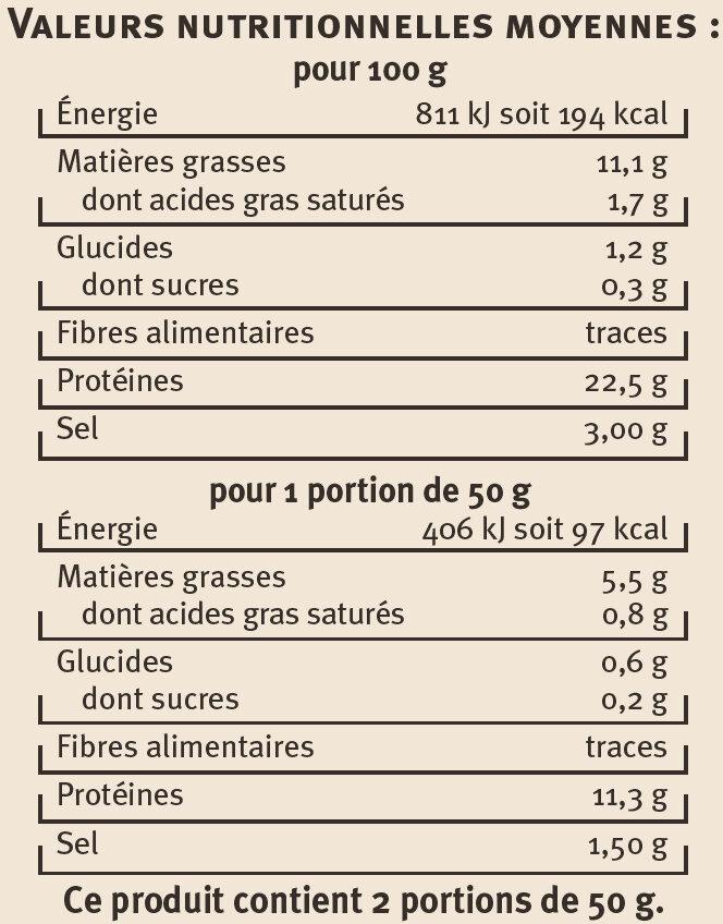 Emincés de saumon aux 5 baies - Voedingswaarden - fr