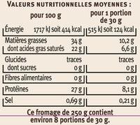Comté AOP au lait cru 34%MG - Informations nutritionnelles - fr