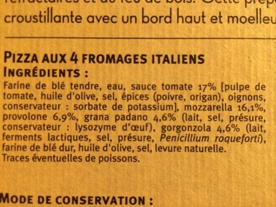 La 4 formaggi - Ingredients