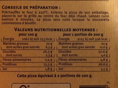 La 4 formaggi - Nutrition facts