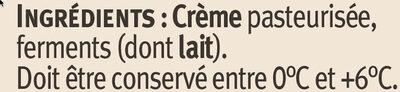 Crème fraîche épaisse AOP Isigny 40% de MG - Ingrediënten