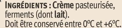 Crème fraîche épaisse AOP Isigny 40% de MG - Ingredients - fr