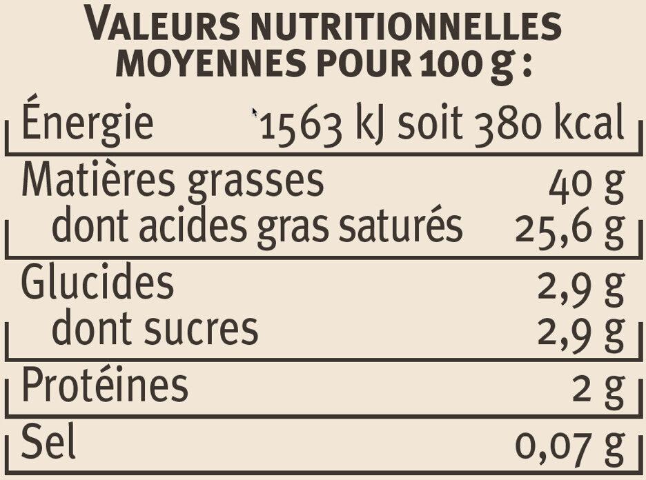 Crème fraîche épaisse AOP Isigny 40% de MG - Nutrition facts - fr