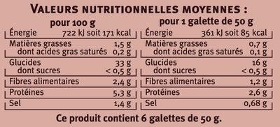 Galettes de sarrasin  les saveurs - Informations nutritionnelles