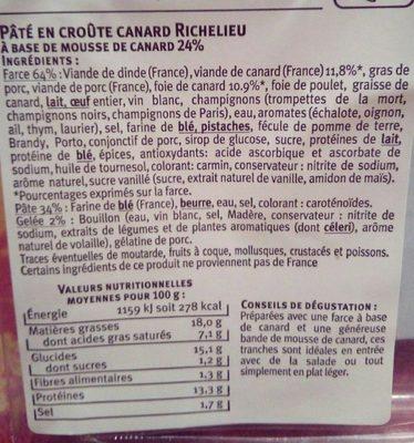 Pâtés en Croûte Canard Richelieu - Ingredients