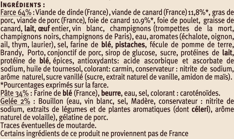 Pâtés en Croûte Canard Richelieu - Ingrédients - fr