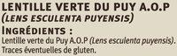 Lentilles vertes du Puy les saveurs - Ingrédients