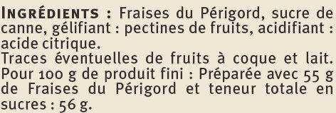 Confiture de fraises récoltées dans le Sud-Ouest Saveurs - Ingrediënten - fr
