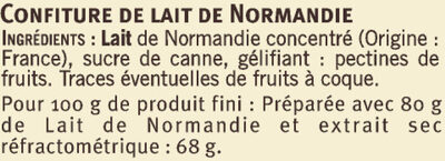 Confiture de lait de Normandie - Ingredients