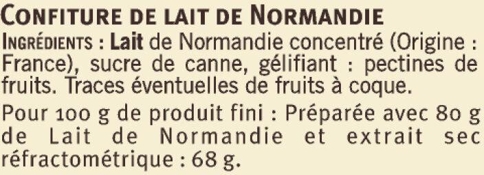Confiture de lait de Normandie - Ingrédients - fr