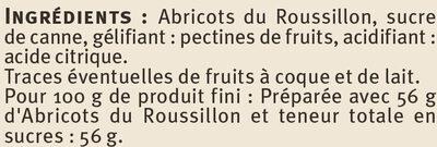 Confiture d'abricots récoltés dans le Languedoc-Roussillon - Ingredients