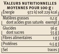 Confiture d'abricots récoltés dans le Languedoc-Roussillon Saveurs - Voedingswaarden - fr