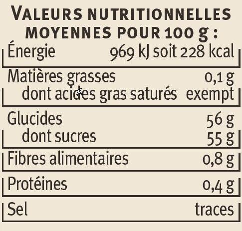 Confiture de clémentine et d'orange récoltées en Corse - Voedingswaarden - fr