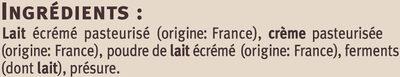Faisselle au lait pasteurisé 7% de matière grasse Saveurs - Ingrédients - fr