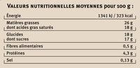 Crème brûlée nature - Nutrition facts