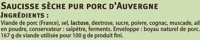 Saucisse sèche pur porc courbe du Massif Centrale - Ingrédients - fr