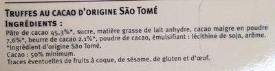 Truffes cacao origine São Tomé - Ingrediënten