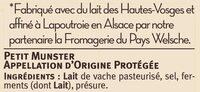 Petit munster AOP au lait pasteurisé 24% de MG - Ingrédients