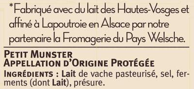 Petit munster AOP au lait pasteurisé 24% de matière grasse - Ingrédients - fr