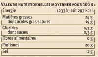 Petit munster AOP au lait pasteurisé 24% de matière grasse - Informations nutritionnelles - fr