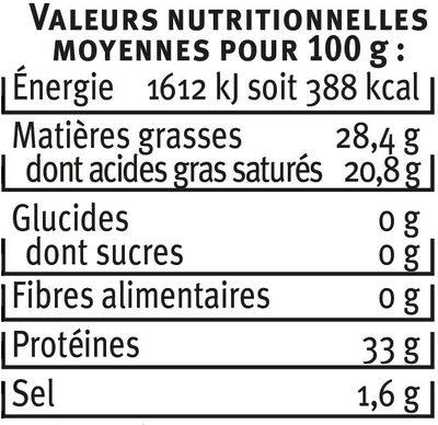 PARMIGIANO REGGIANO AOP lait cru 30% de MG - Informations nutritionnelles