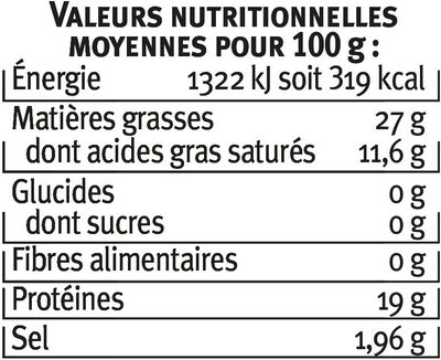 Gorgonzola AOP au lait pasteurisé 27% de MG - Informations nutritionnelles - fr