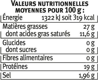 Gorgonzola AOP au lait pasteurisé 27%mg - Nutrition facts - fr