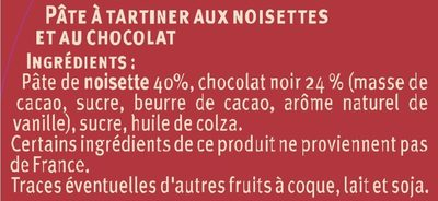 Pate à tartiner au chocolat noir noisettes - Ingredienti - fr