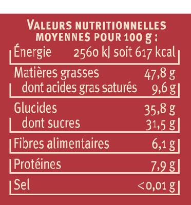 Pate à tartiner au chocolat noir noisettes - Valori nutrizionali - fr