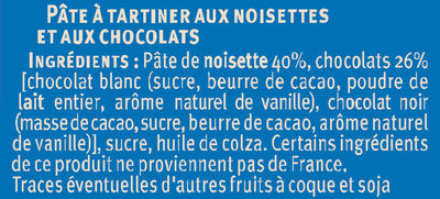 Pate à tartiner au chocolat noisettes - Ingredienti - fr