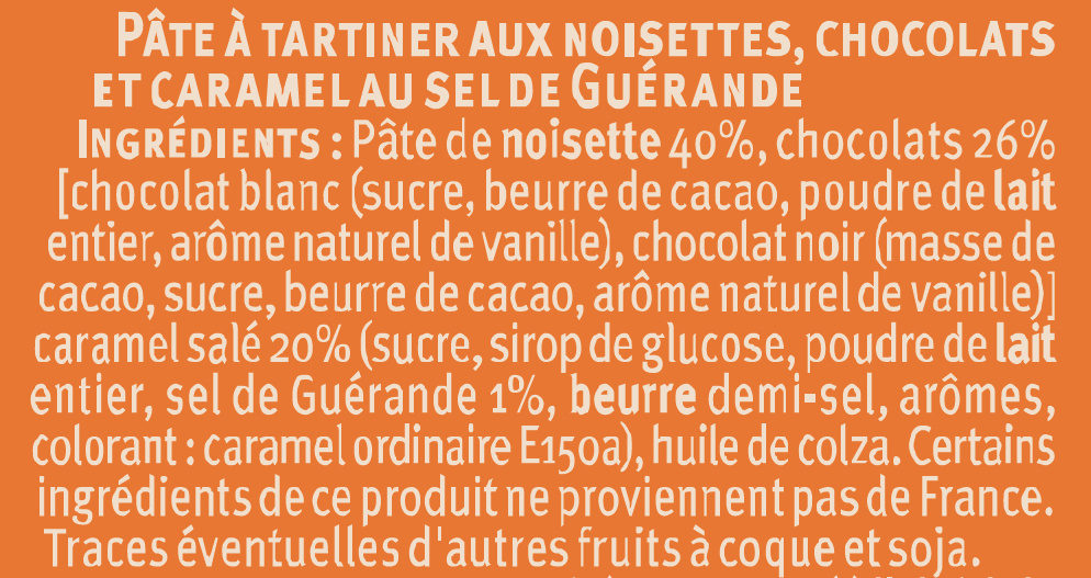 Pate tartiner chocolat/noisette/caramel au sel Guérande - Ingredienti - fr