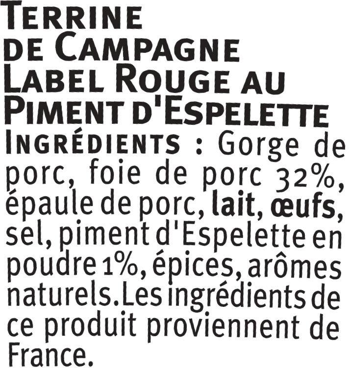 Terrine campagne au piment Espelette Label Rouge - Ingredients