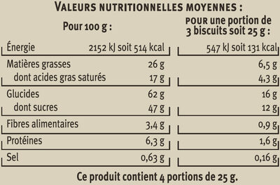 Spéculoos aux 3 chocolats - Nutrition facts - fr