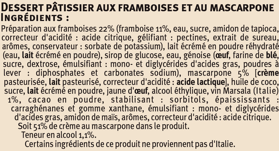 Tiramisu Framboise - Ingrédients - fr