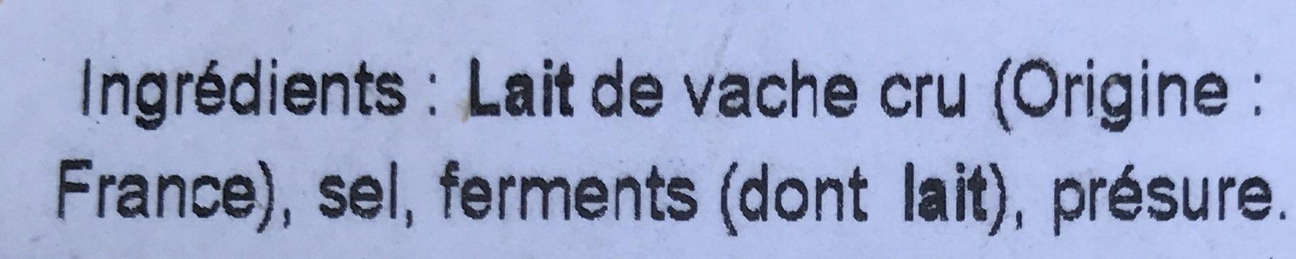 Coulommiers au lait cru - Ingredients - fr