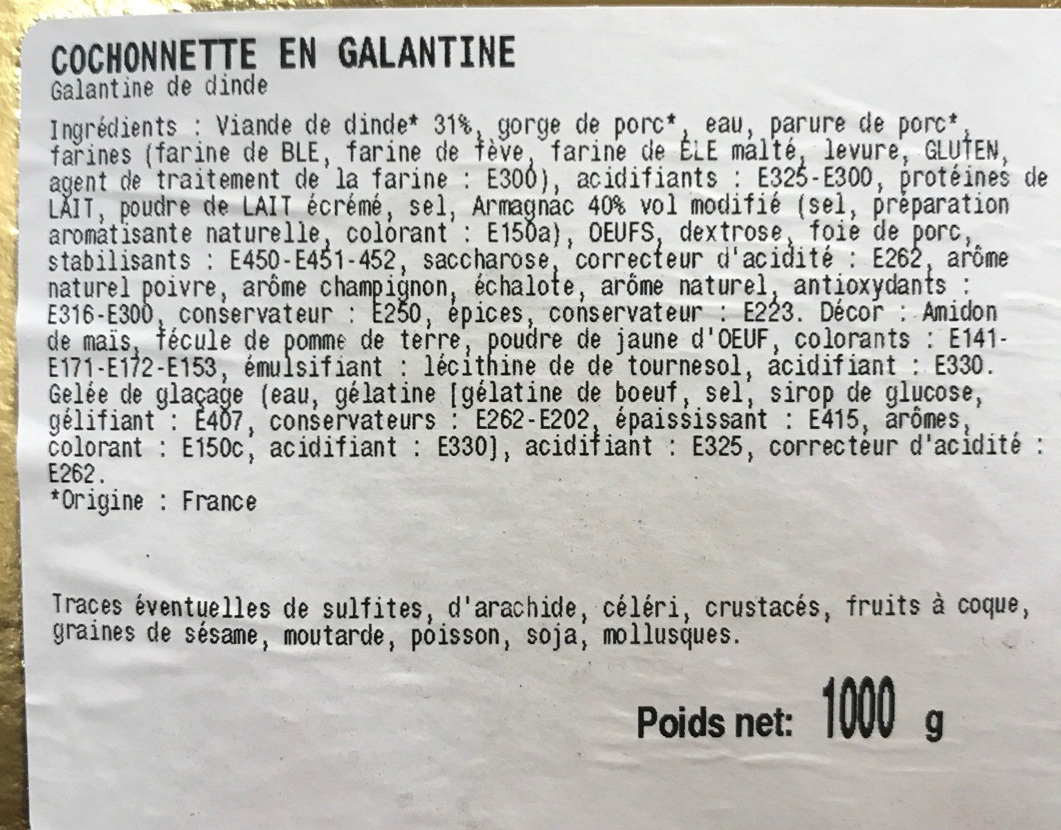 Cochonette en galantine - Ingrediënten