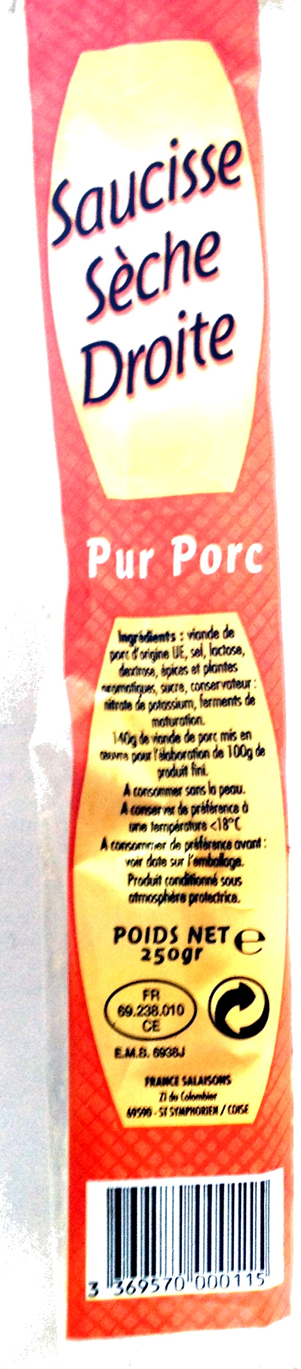 Saucisse sèche droite - Product - fr