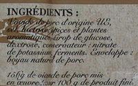 Le Goustalin - Saucisse sèche - Ingrédients