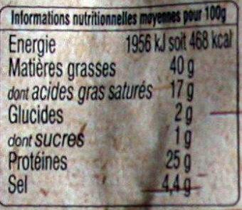 Le Goustalin - Saucisse sèche - Informations nutritionnelles